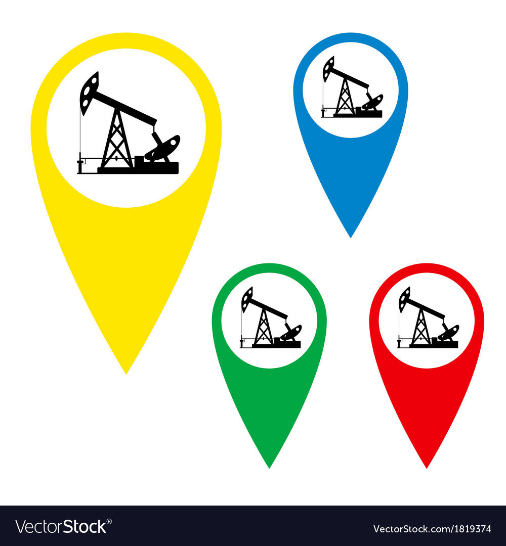 The silhouette of the oil pump on a map marker vector | Price: 1 Credit (USD $1)