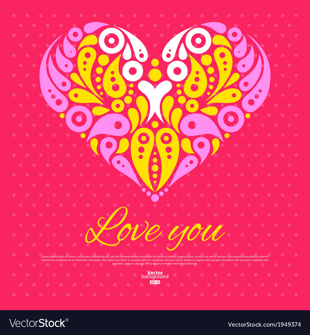 Valentines day card with decorative stylish heart vector | Price: 1 Credit (USD $1)