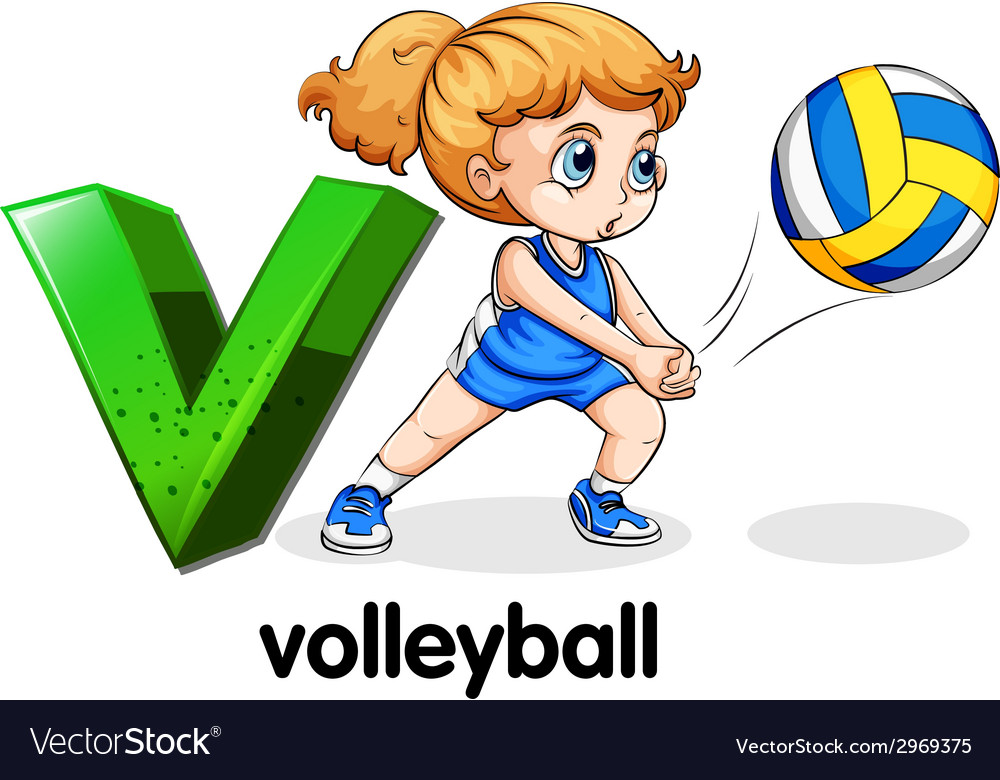 A letter v for volleyball vector | Price: 1 Credit (USD $1)