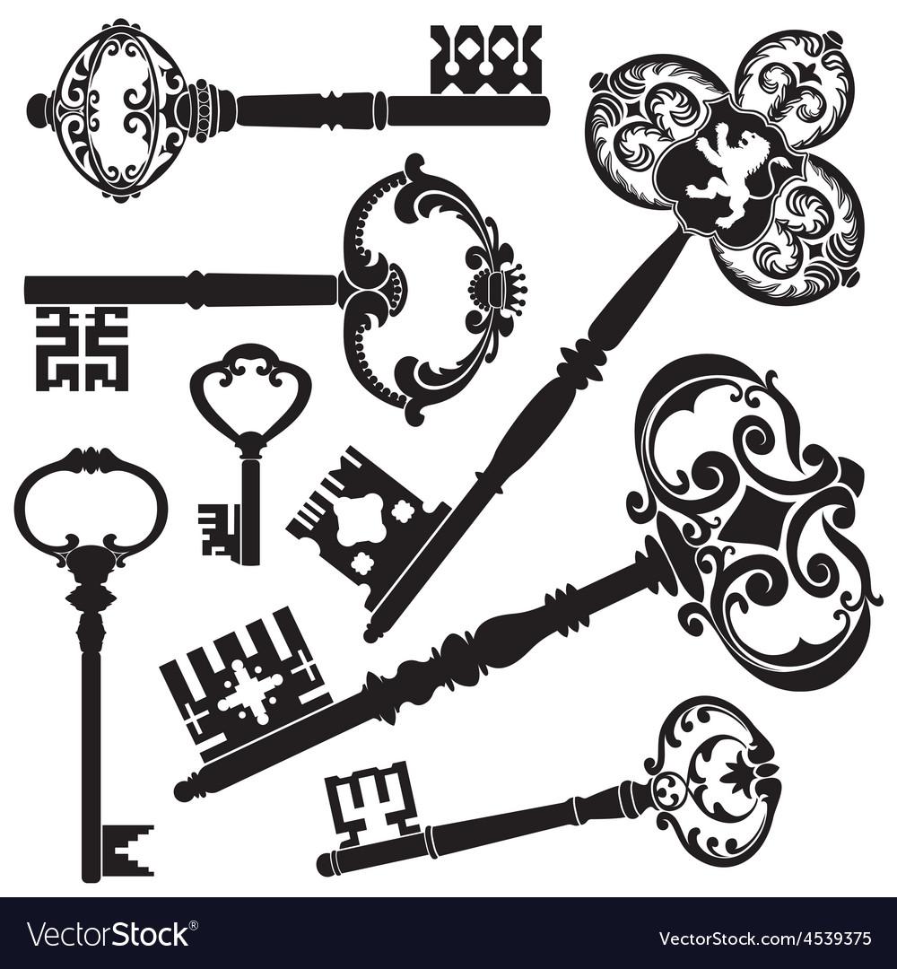 Antique keys vector | Price: 1 Credit (USD $1)