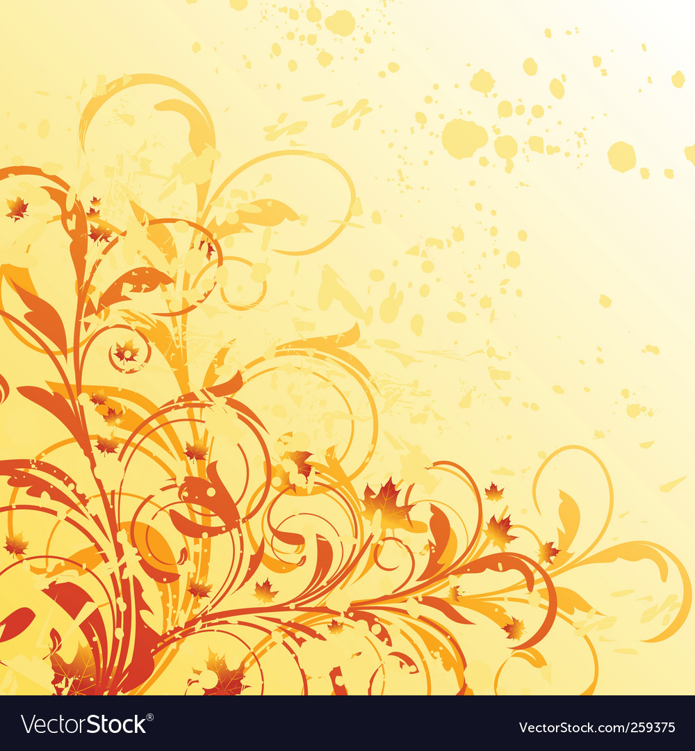 Autumn floral grunge background vector | Price: 1 Credit (USD $1)