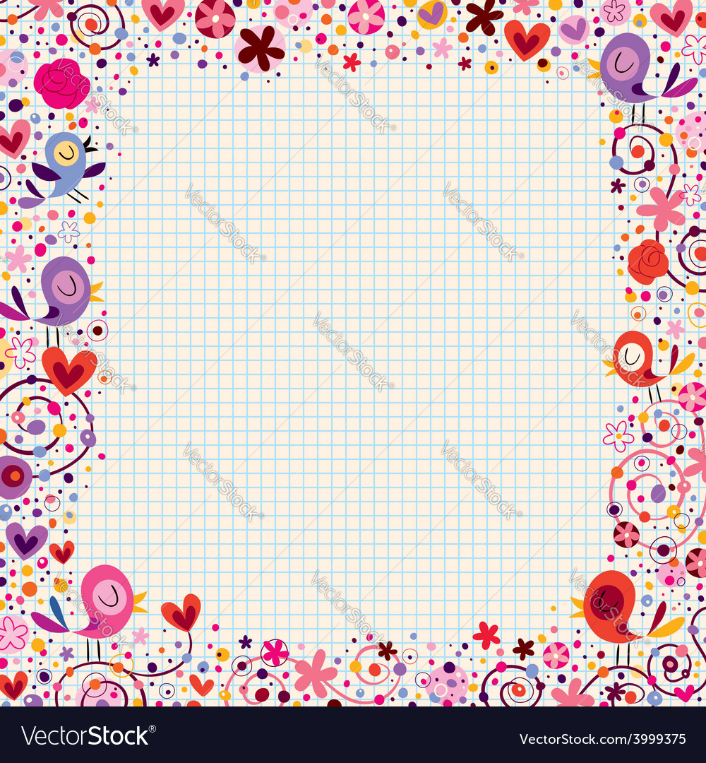 Birds and flowers floral border vector | Price: 1 Credit (USD $1)