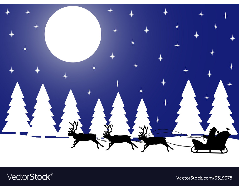 Christmas night in the winter forest vector | Price: 1 Credit (USD $1)