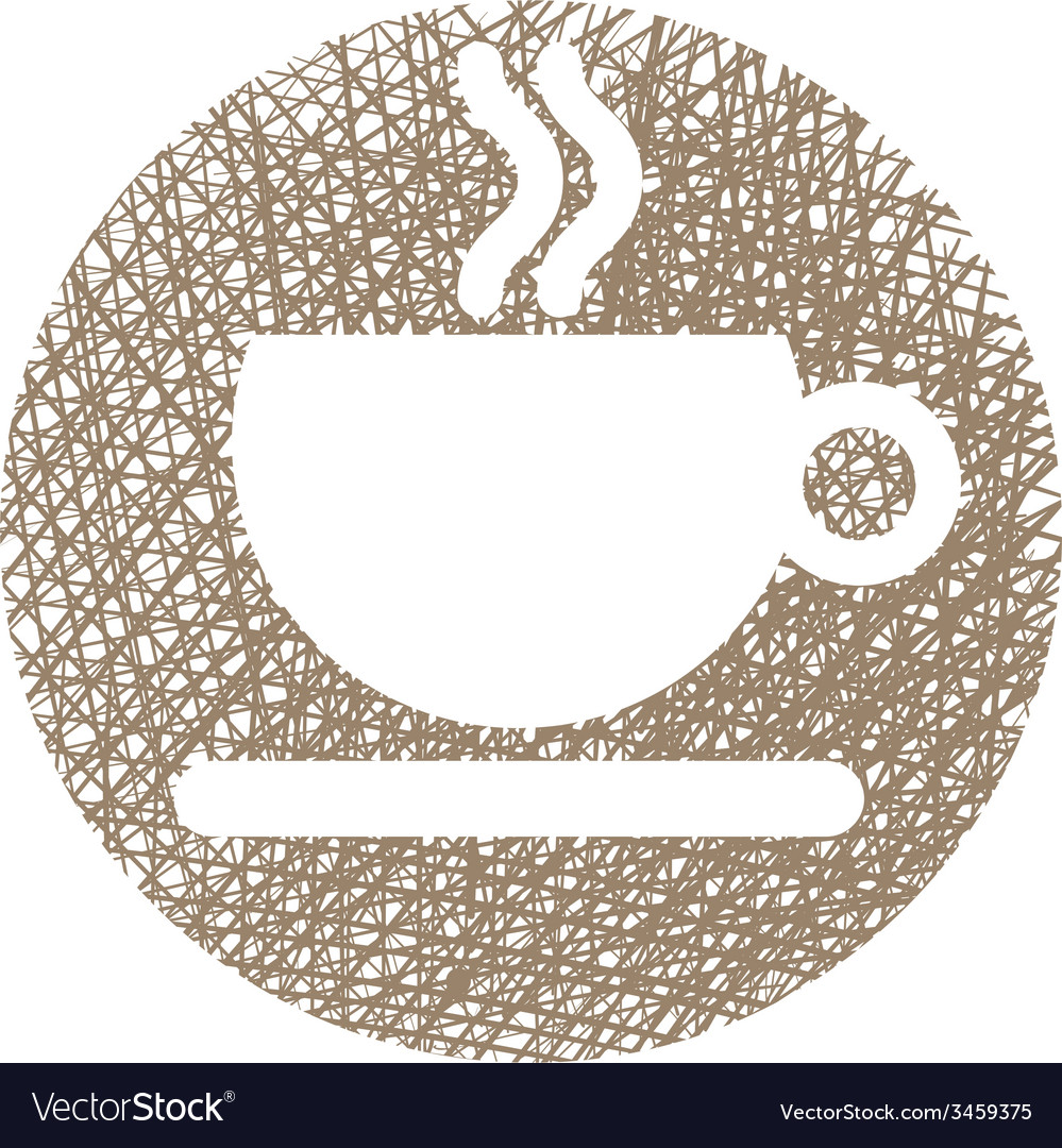Cup of coffee icon with hand drawn lines texture vector | Price: 1 Credit (USD $1)