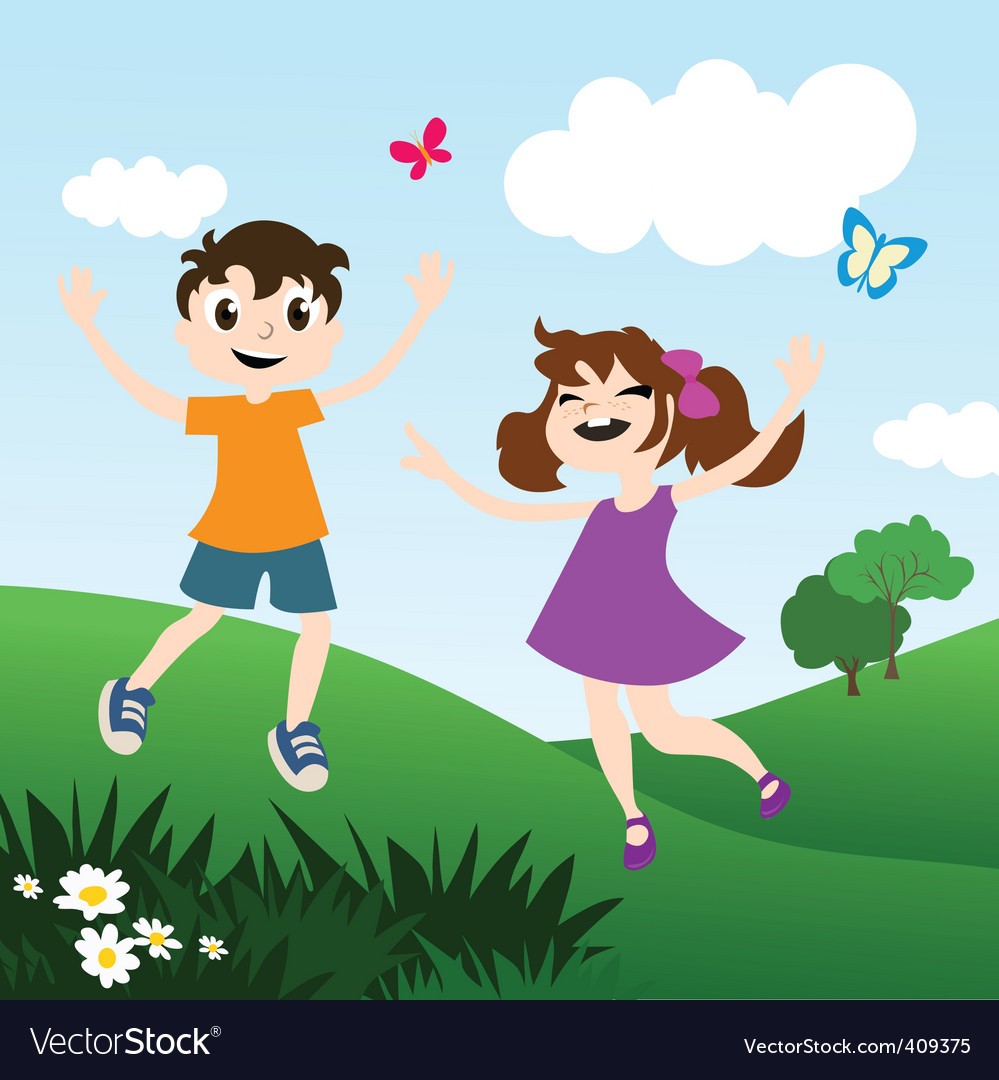 Kids playing outdoors vector | Price: 1 Credit (USD $1)