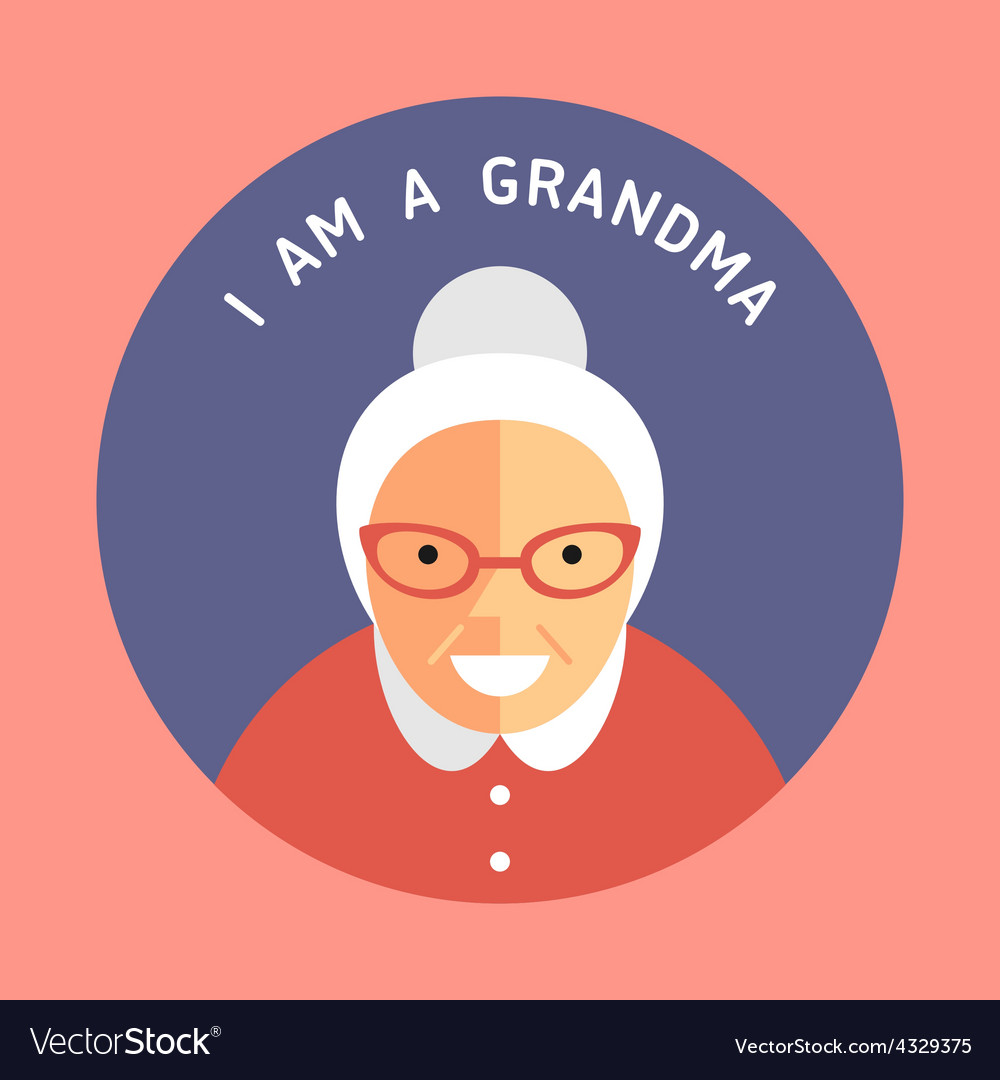 Portrait of grandmother flat design icon with text vector | Price: 1 Credit (USD $1)