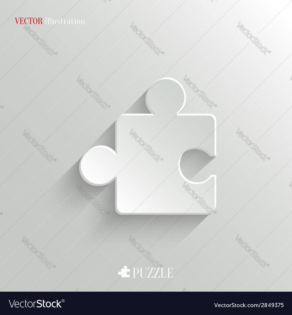 Puzzle icon - white app button vector | Price: 1 Credit (USD $1)