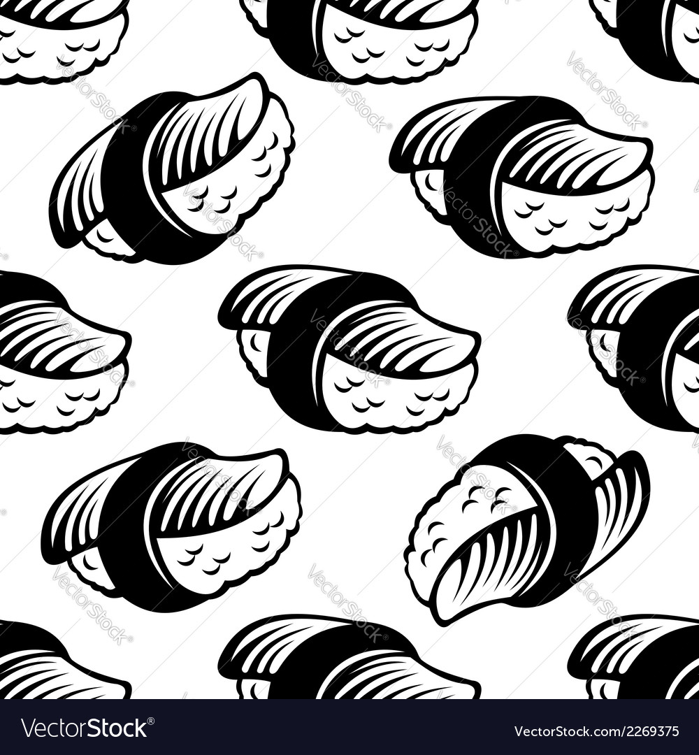 Seamless sushi pattern vector | Price: 1 Credit (USD $1)