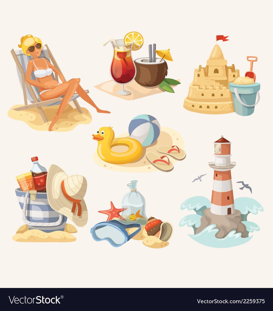 Set of summer beach elements vector | Price: 3 Credit (USD $3)