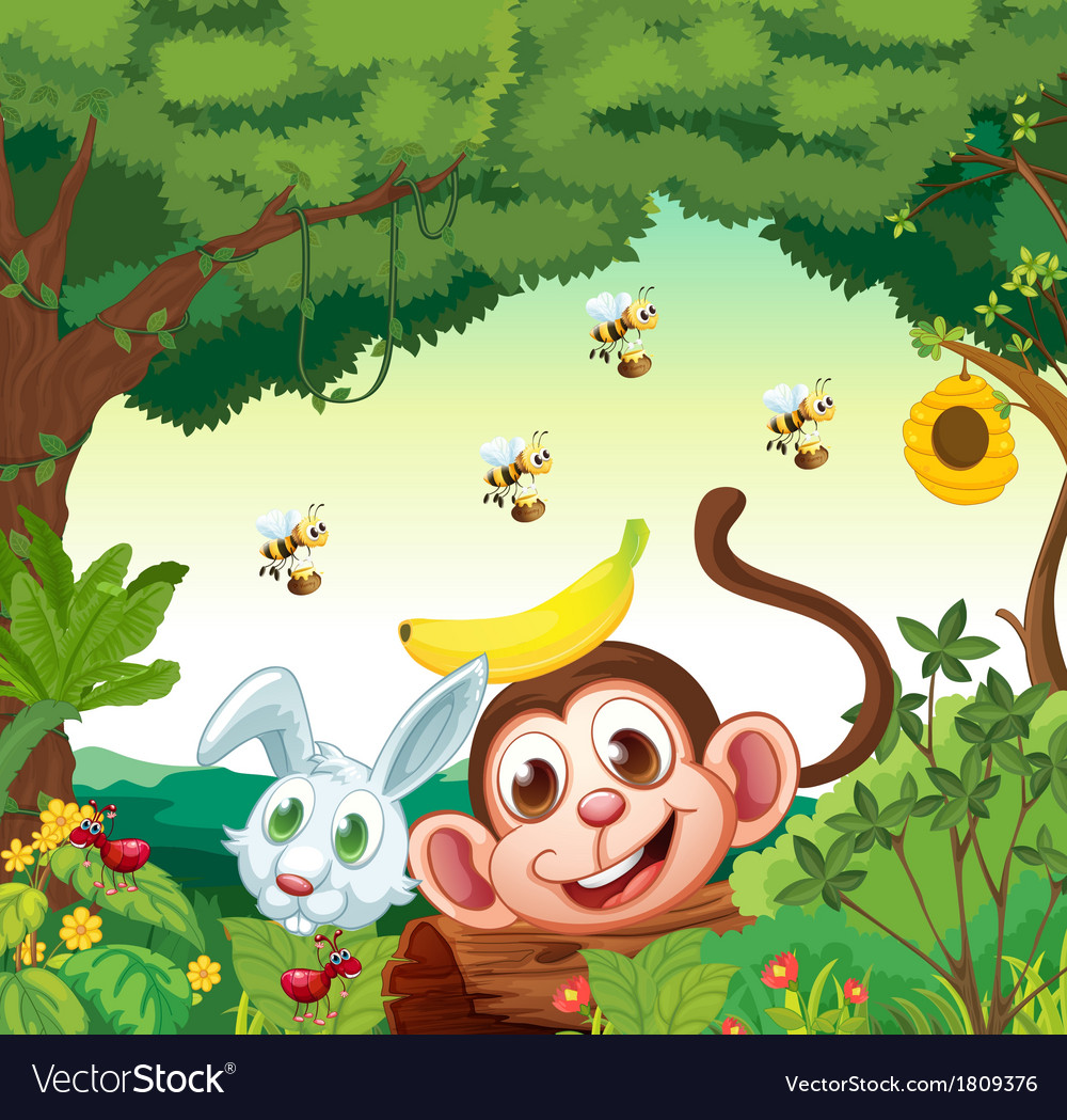 A forest with happy animals vector | Price: 1 Credit (USD $1)