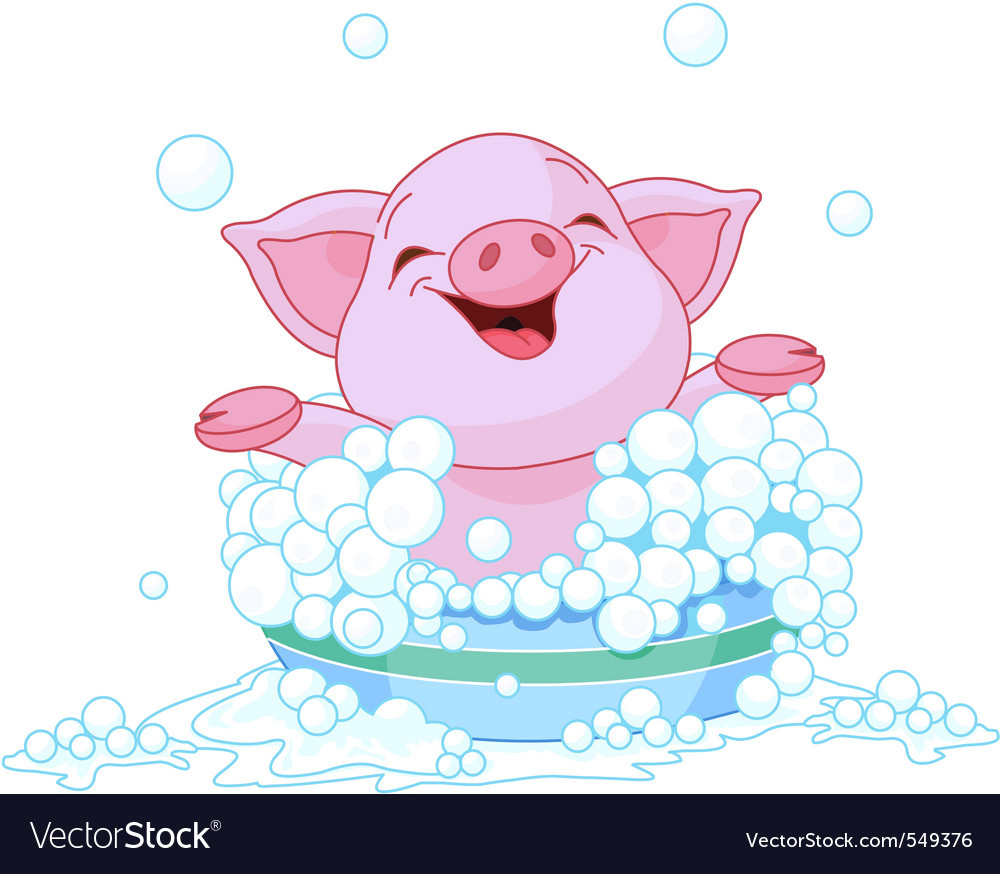 Cute piglet taking a bath vector | Price: 1 Credit (USD $1)