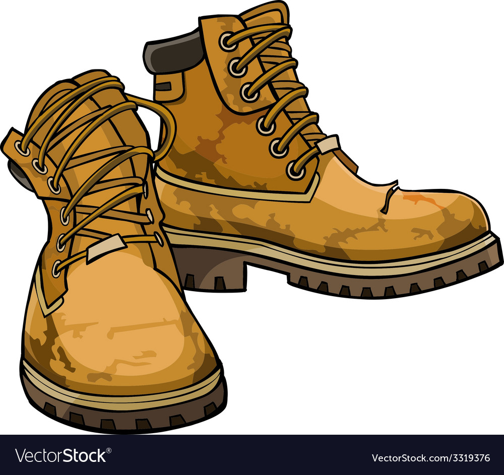 Old torn boots with lacing yellow color vector | Price: 3 Credit (USD $3)