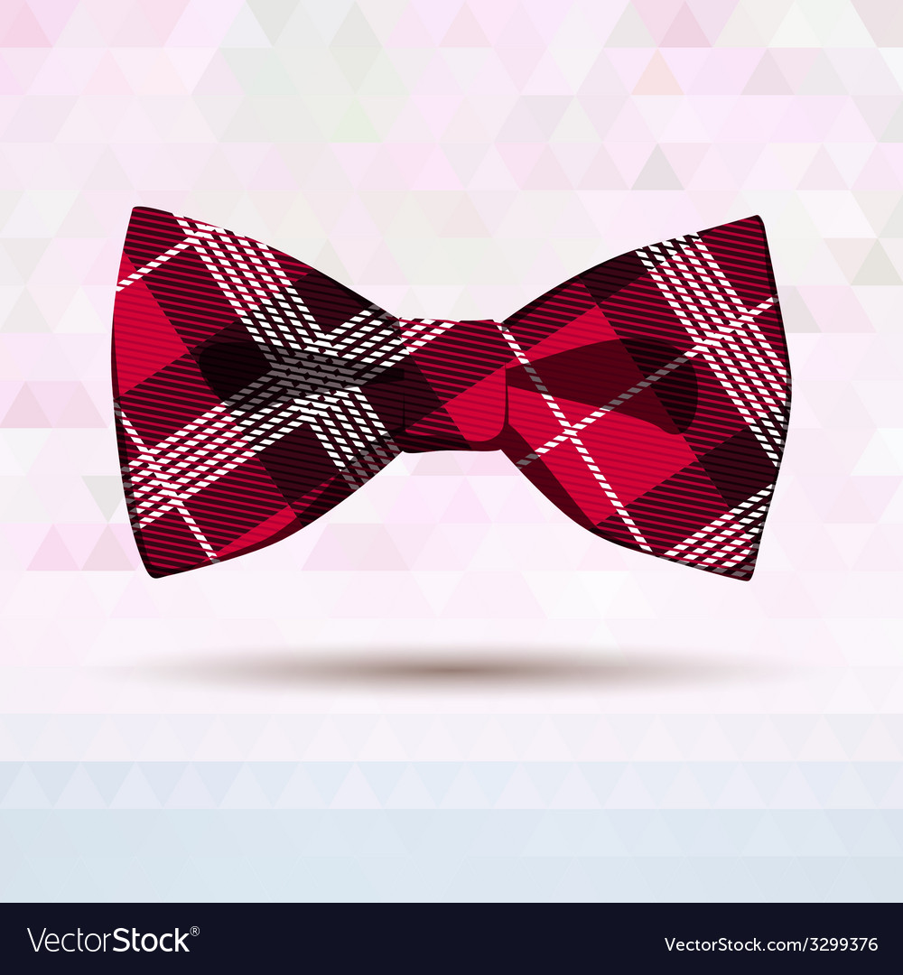 Red tartan bow-tie vector | Price: 1 Credit (USD $1)