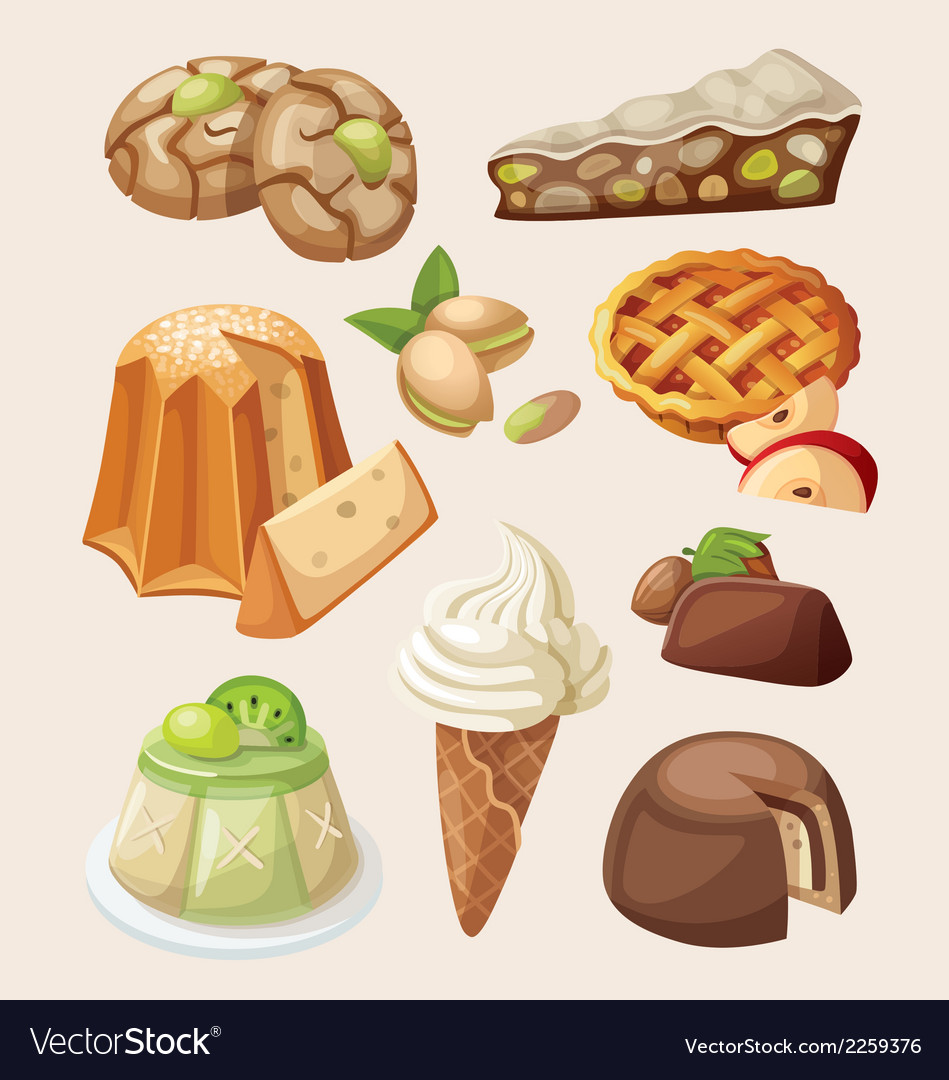 Set of italian desserts vector | Price: 3 Credit (USD $3)