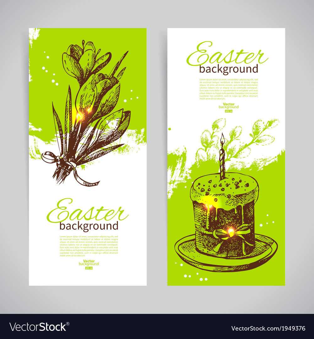 Set of vintage easter banners with hand drawn vector | Price: 1 Credit (USD $1)