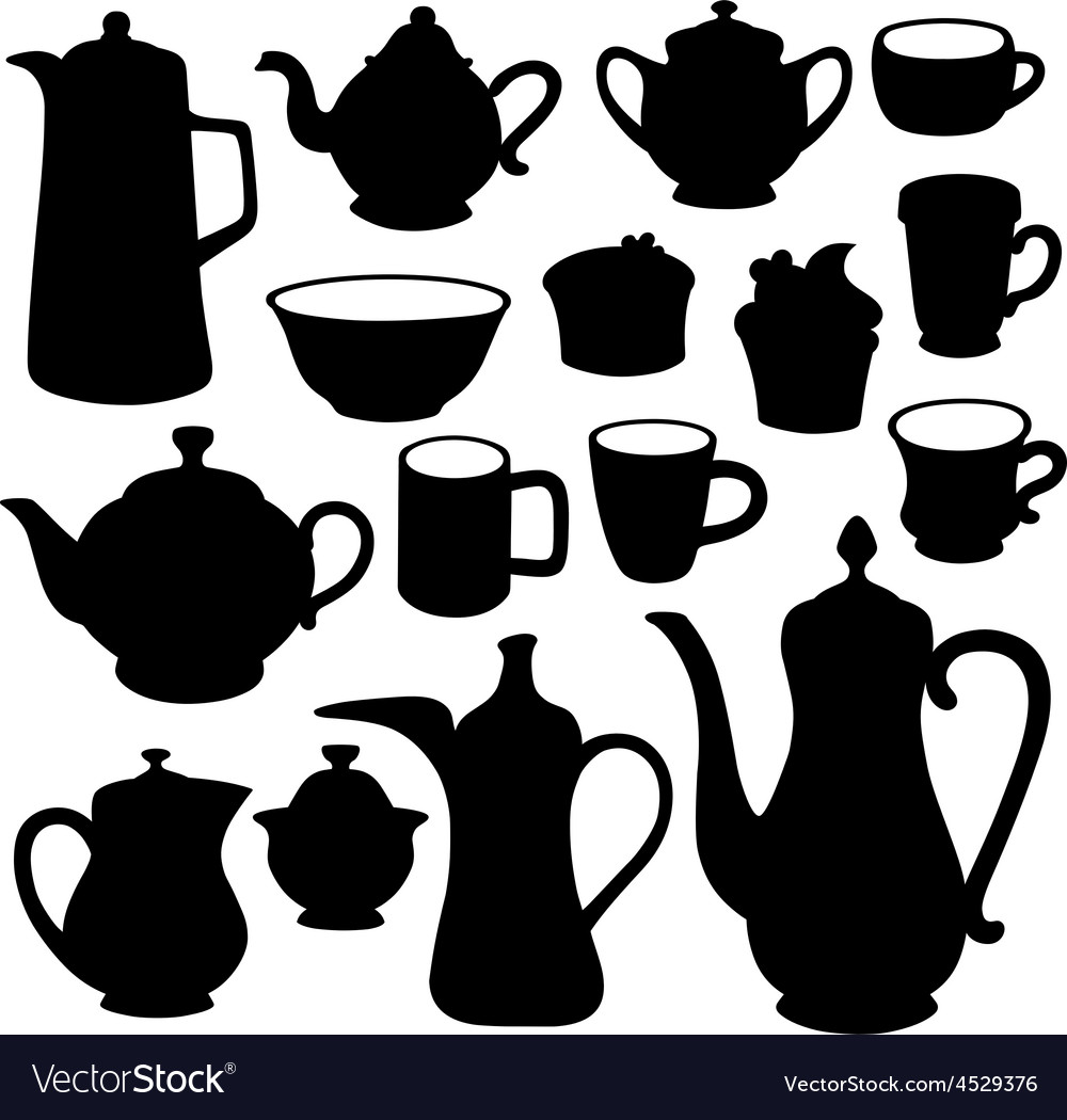 Simple coffee tea crockery silhouette set vector | Price: 1 Credit (USD $1)