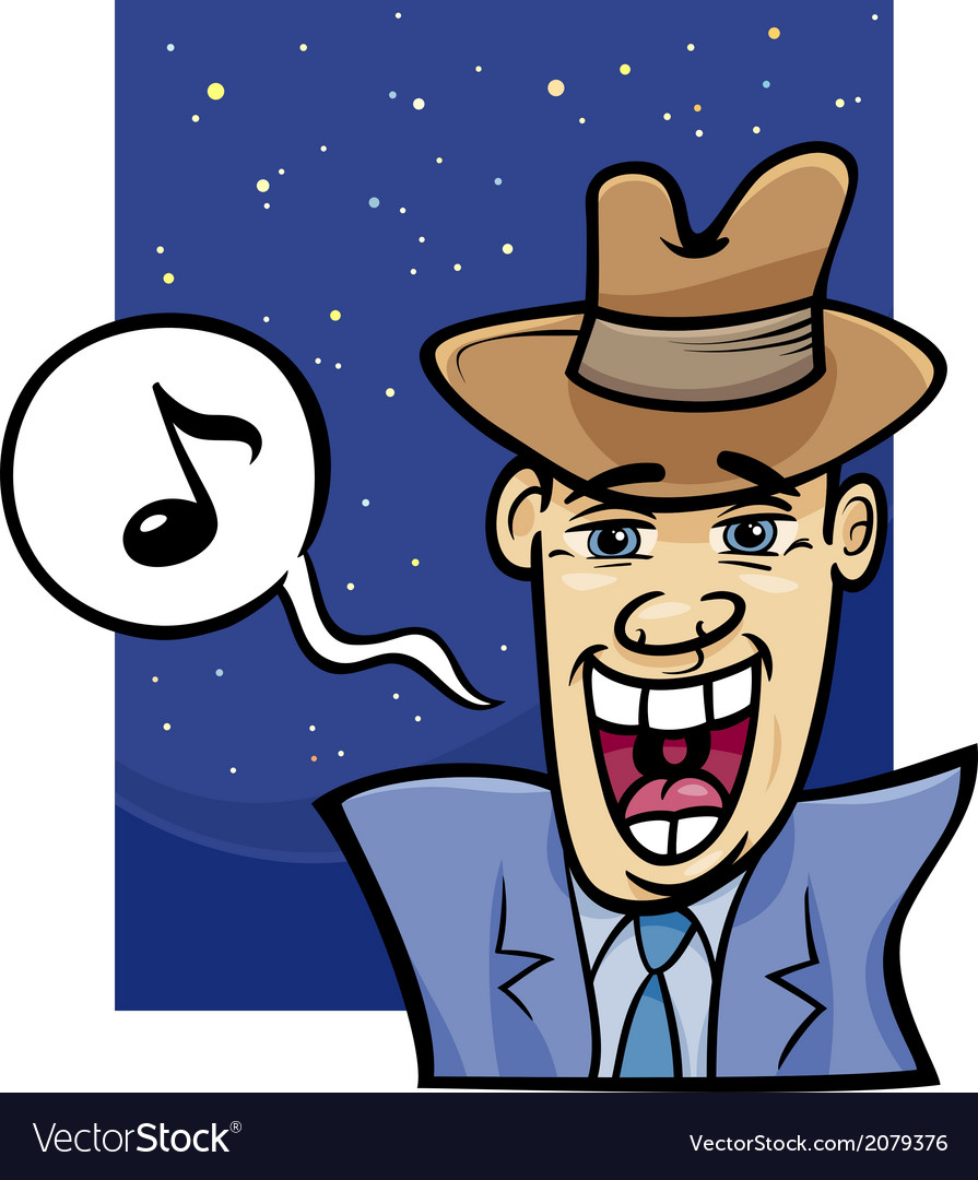 Singing man cartoon vector | Price: 1 Credit (USD $1)