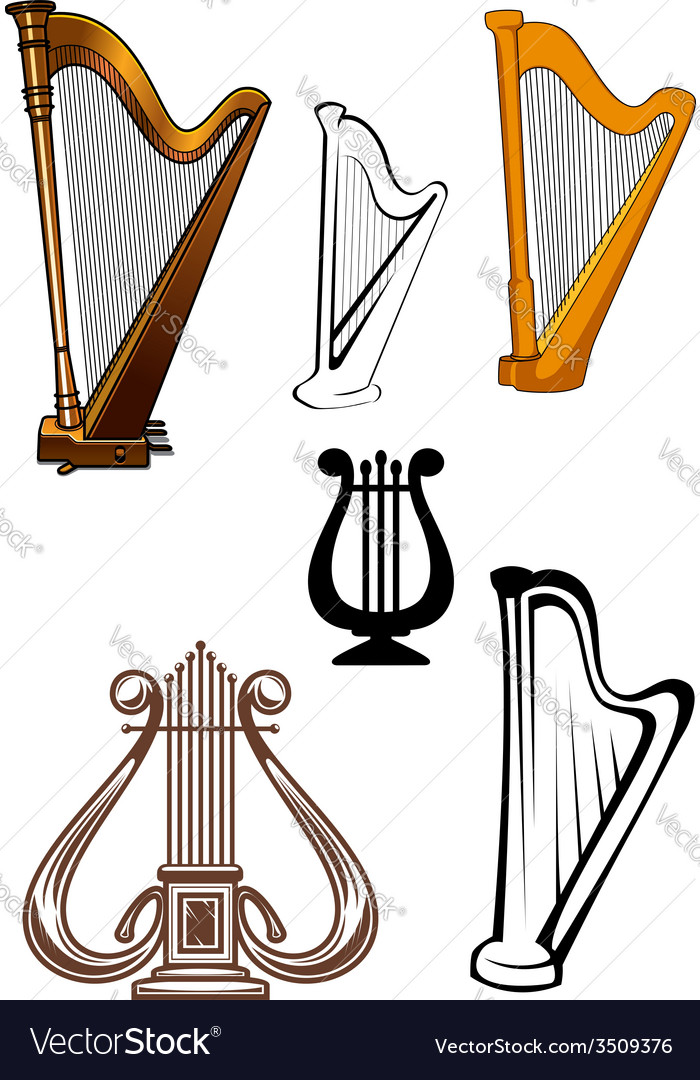Stringed musical instruments icons set vector | Price: 1 Credit (USD $1)