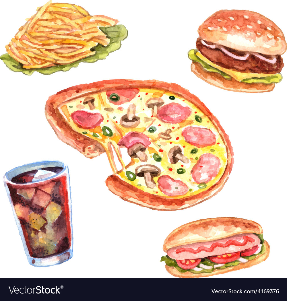 Watercolor fast food lunch menu set vector | Price: 1 Credit (USD $1)