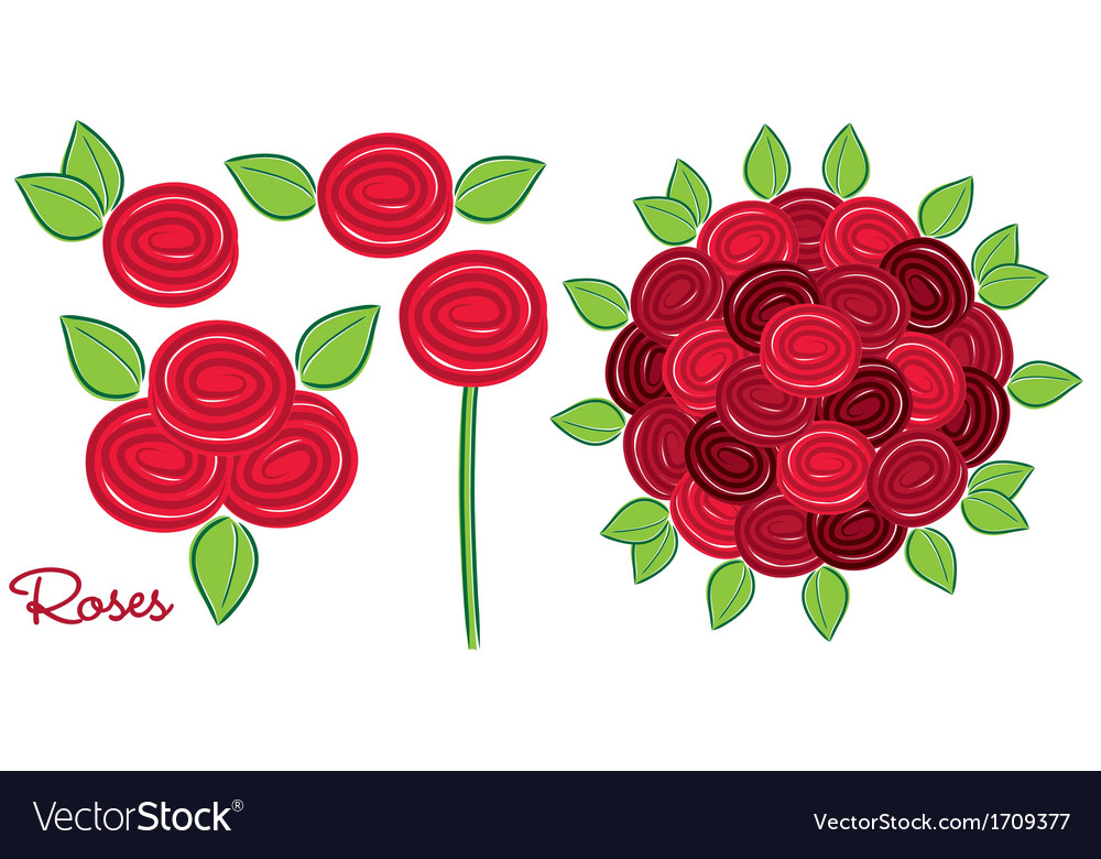Bright hand drawn rose set in format vector | Price: 3 Credit (USD $3)