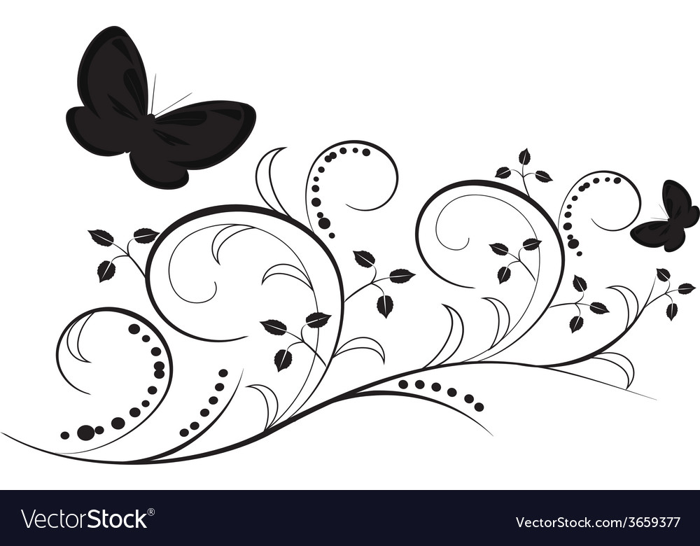 Butterflies with flourishes vector | Price: 1 Credit (USD $1)
