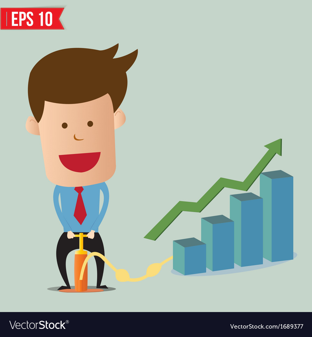 Cartoon business man pumping graph - - eps10 vector | Price: 1 Credit (USD $1)