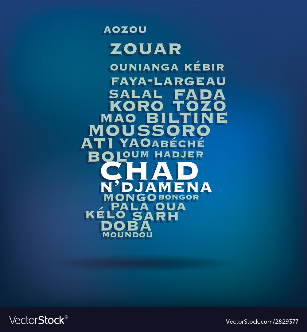 Chad map made with name of cities vector | Price: 1 Credit (USD $1)