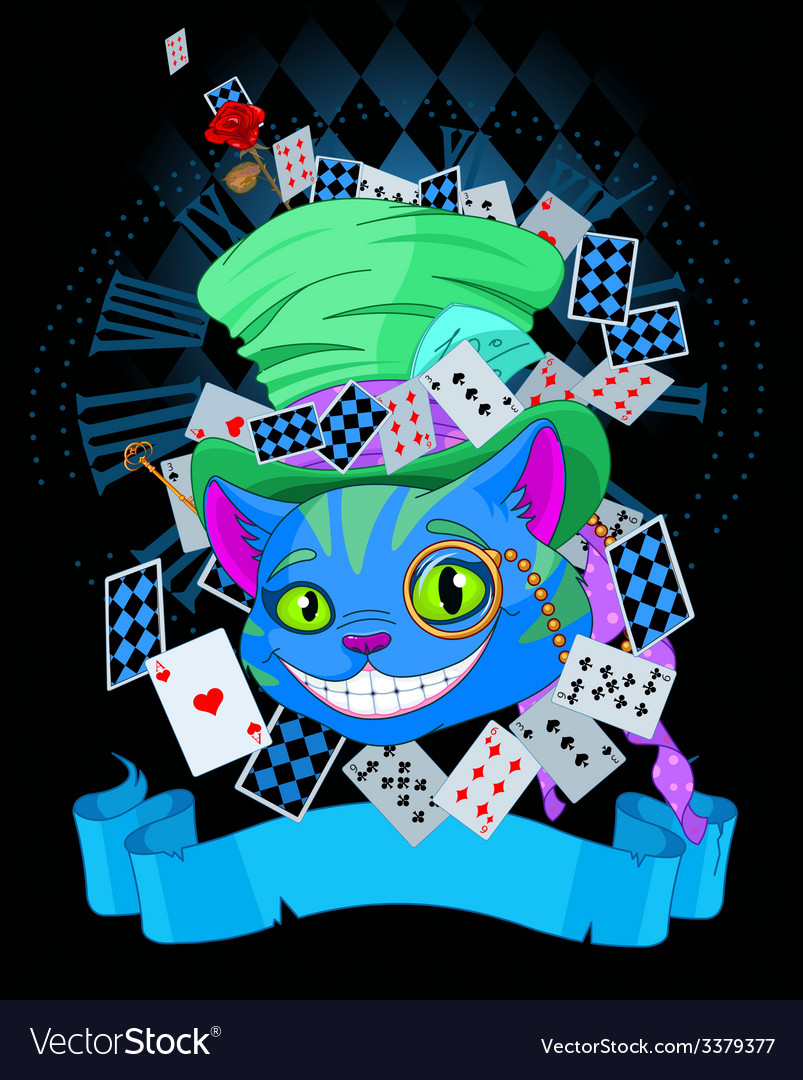 Cheshire cat in top hat design vector | Price: 3 Credit (USD $3)