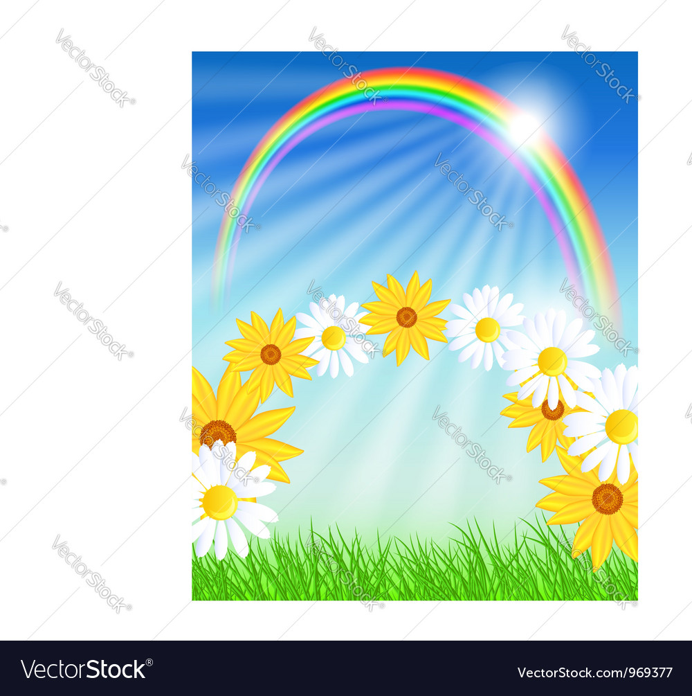 Flowers with green grass and rainbow vector   Price: 1 Credit (USD $1)