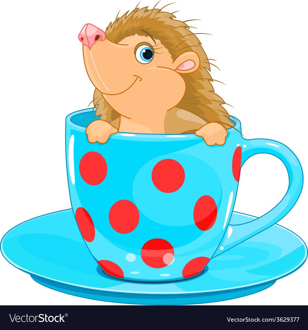 Hedgehog in the tea cup vector | Price: 3 Credit (USD $3)