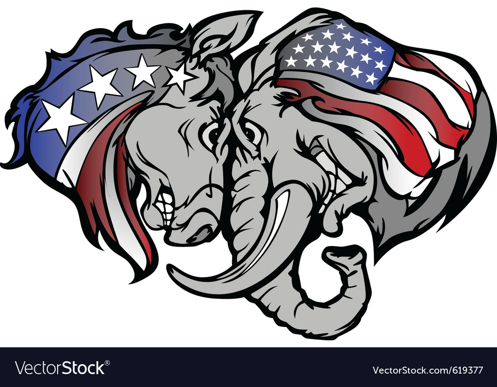 Political elephant and donkey cartoon vector | Price: 3 Credit (USD $3)