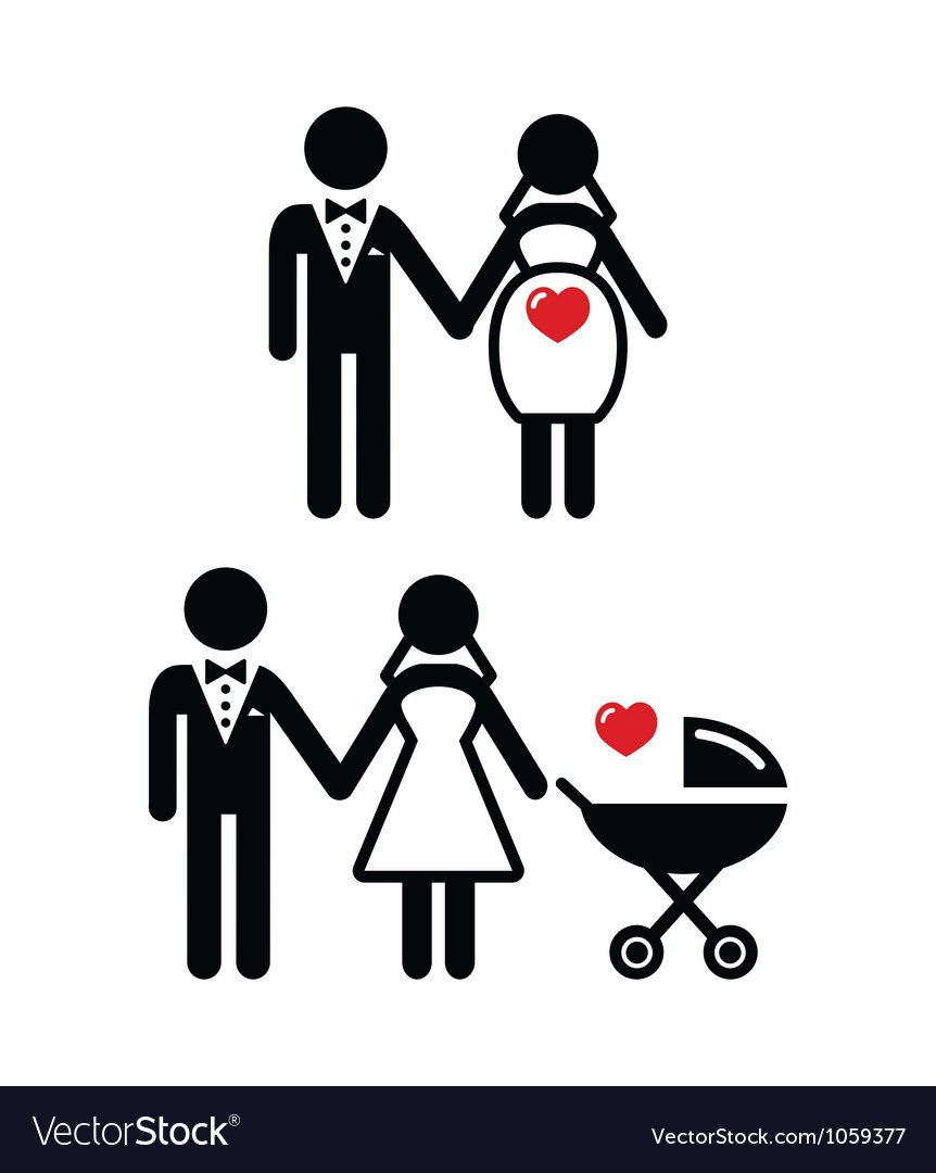 Pregnant bride icon bride with pram vector | Price: 1 Credit (USD $1)