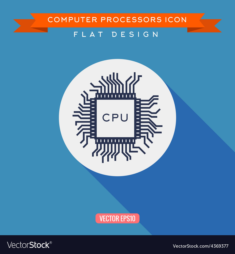 Processor icon cpu long shadow flat design vector | Price: 1 Credit (USD $1)
