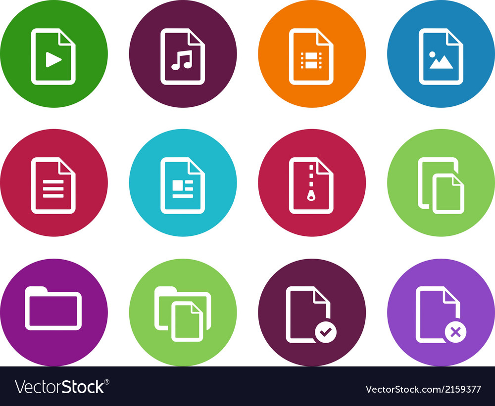 Set of files circle icons on white background vector | Price: 1 Credit (USD $1)