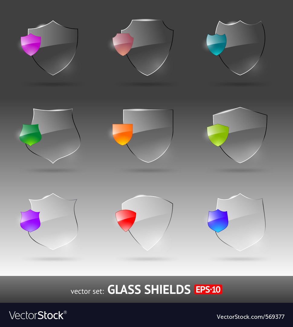 Set of glass heraldic shields vector | Price: 1 Credit (USD $1)