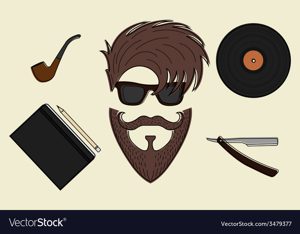 Set of hipster style icons vector | Price: 1 Credit (USD $1)