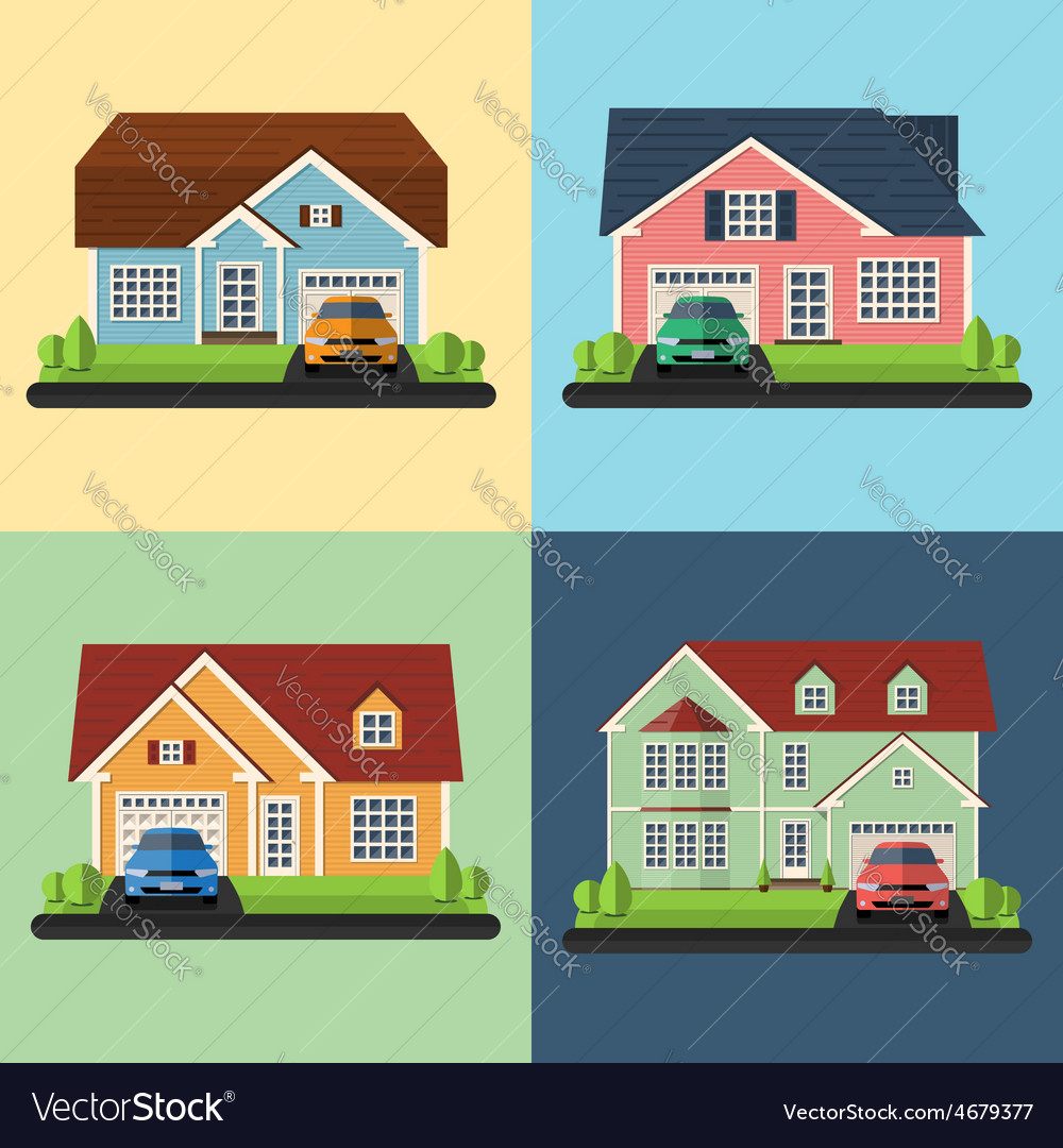 Set of house icons or symbols flat design vector | Price: 1 Credit (USD $1)