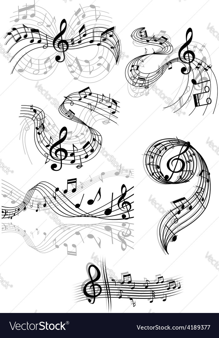 Swirling musical scores and notes vector | Price: 1 Credit (USD $1)