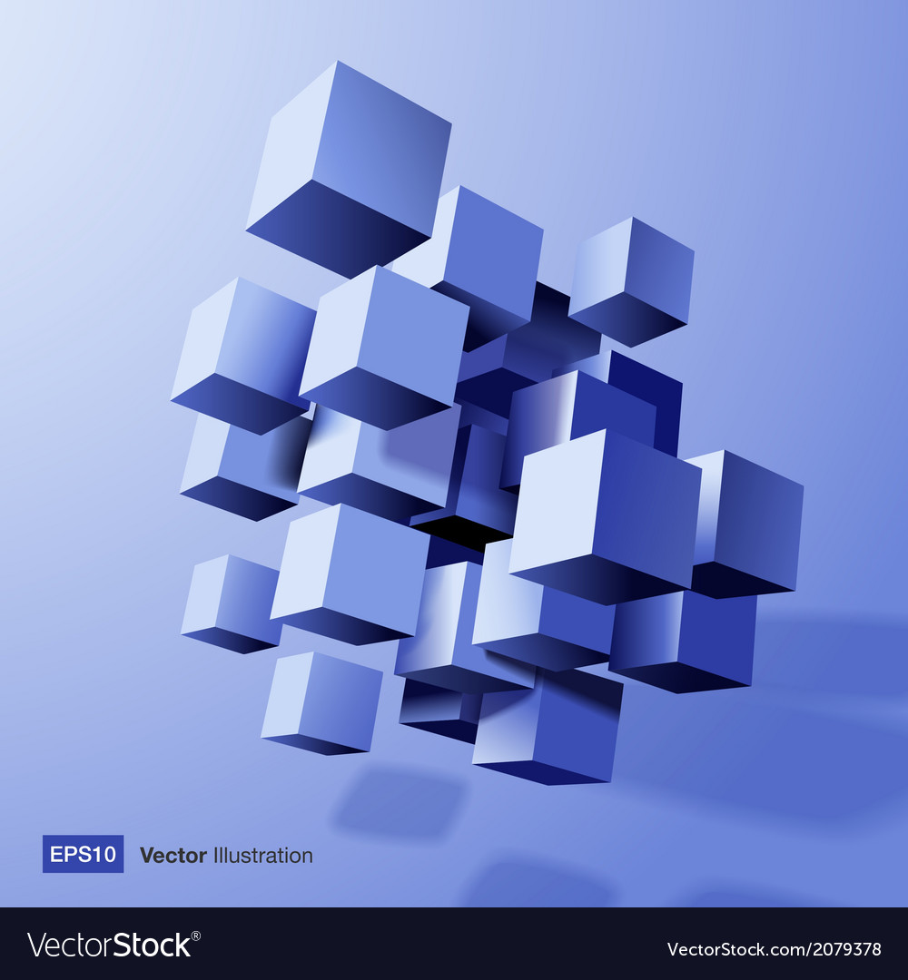 Abstract composition of blue 3d cubes vector | Price: 1 Credit (USD $1)