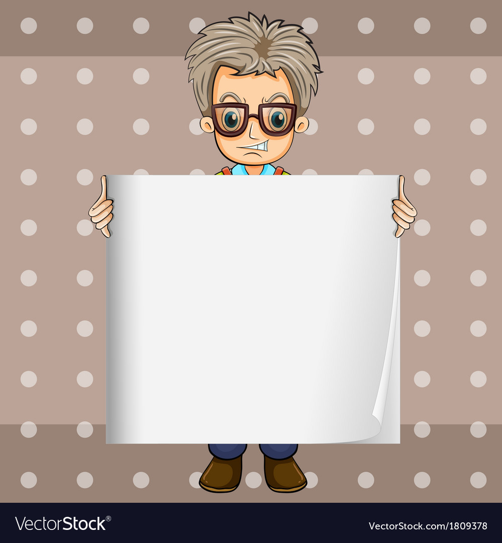 An angry man holding an empty signboard vector | Price: 1 Credit (USD $1)