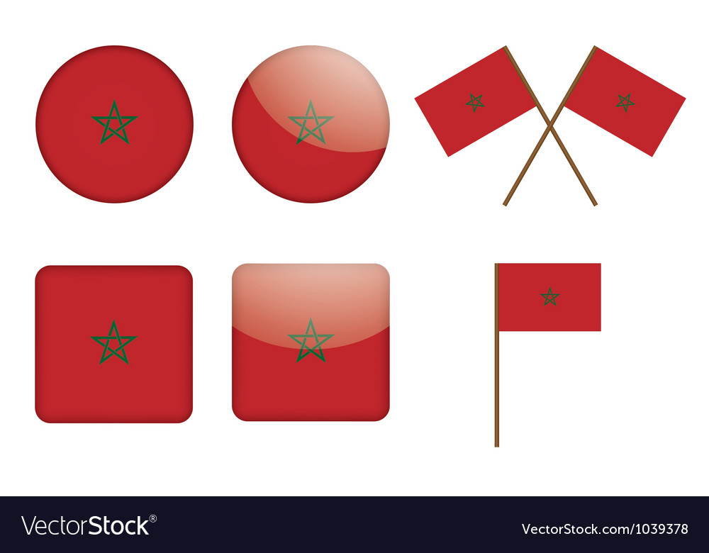 Badges with flag of morocco vector | Price: 1 Credit (USD $1)
