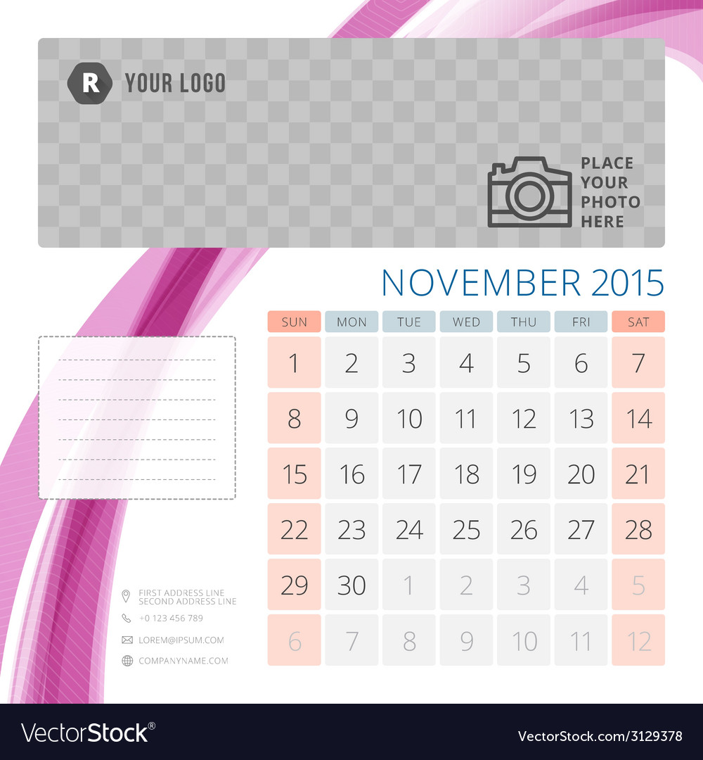 Calendar 2015 november template with place for vector | Price: 1 Credit (USD $1)