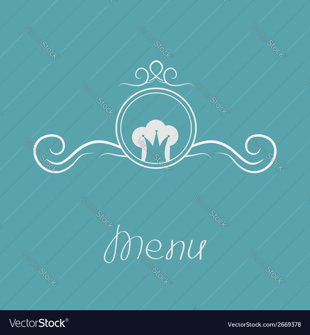 Chef hat crown and round abstract frame menu card vector | Price: 1 Credit (USD $1)