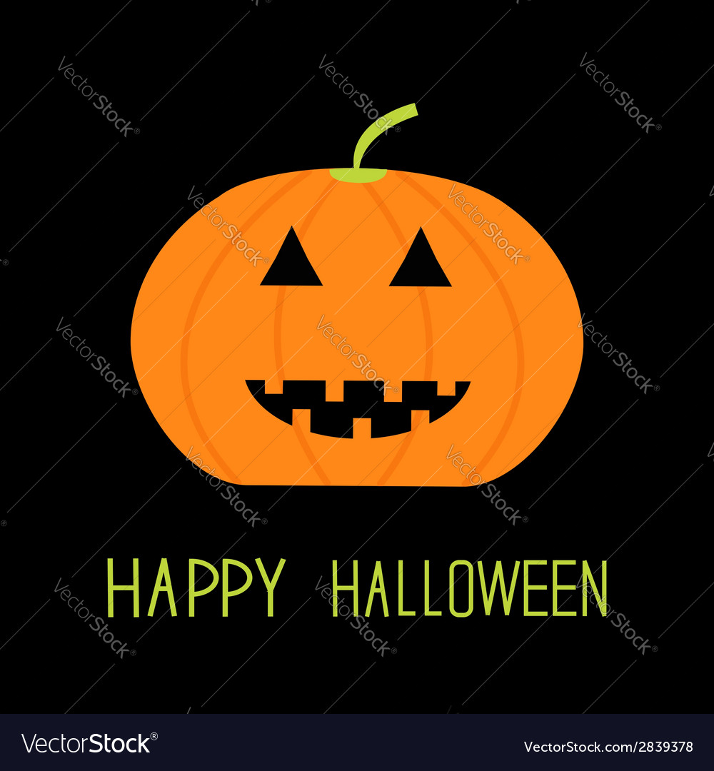 Cute funny pumpkin halloween card for kids flat vector | Price: 1 Credit (USD $1)