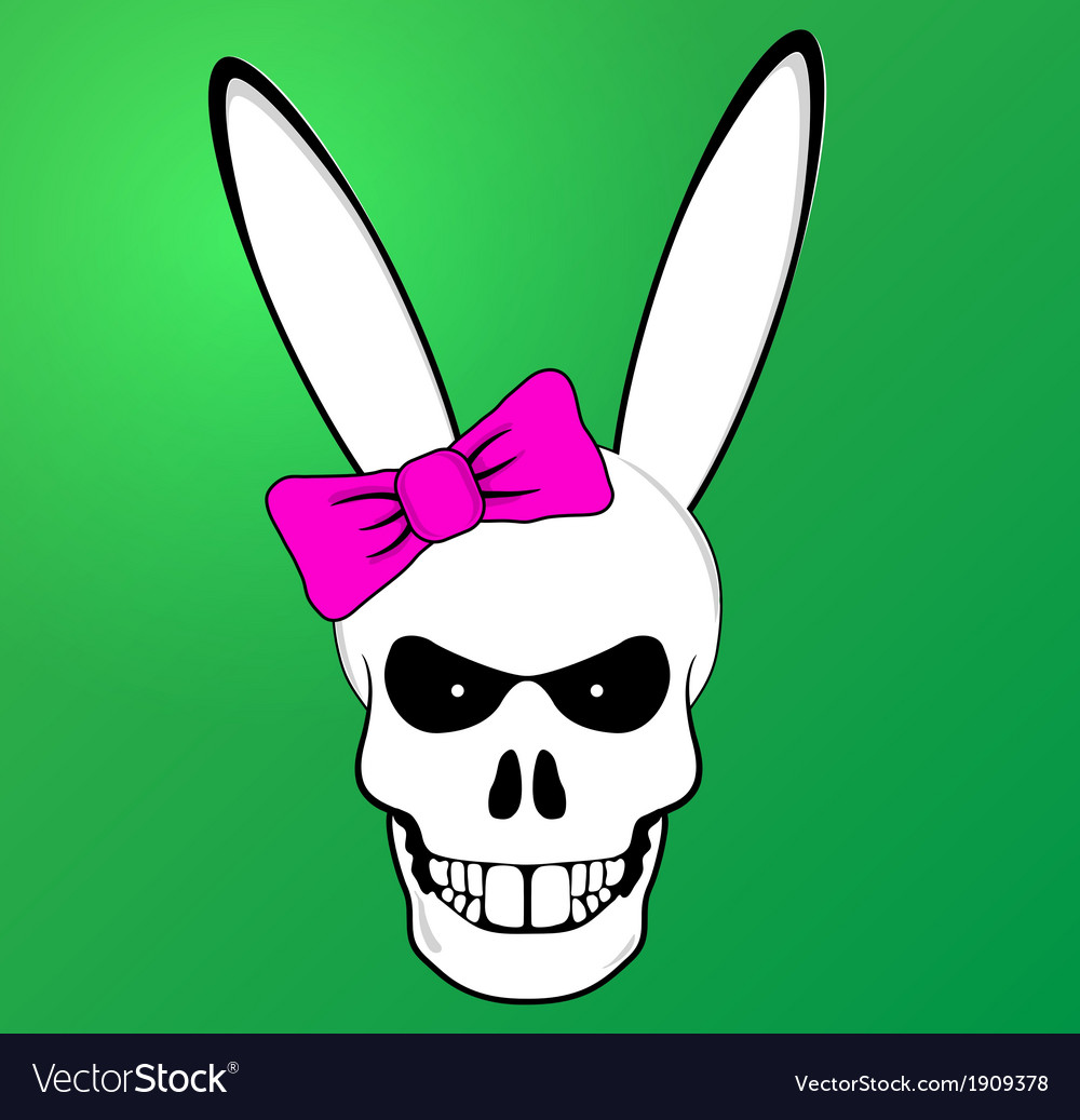 Funny easter bunny skull with pink bow vector | Price: 1 Credit (USD $1)