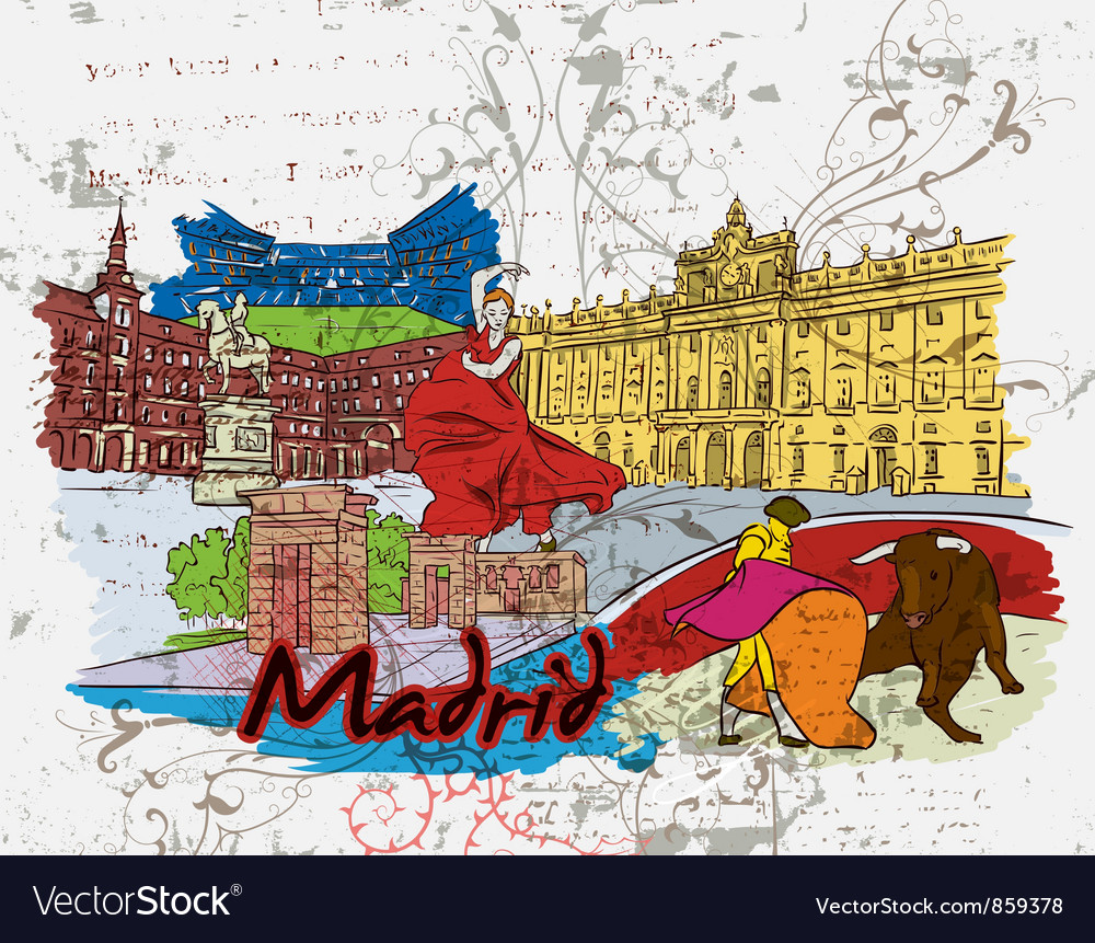 Madrid doodles vector | Price: 3 Credit (USD $3)