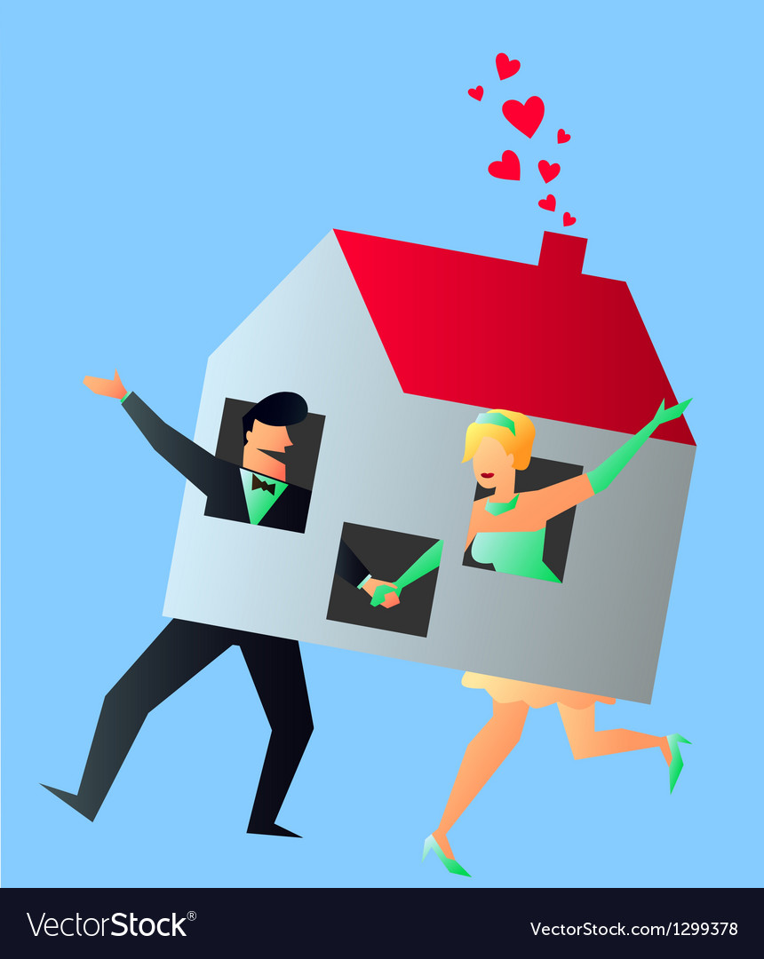 Newlyweds young couple sharing their new home vector | Price: 1 Credit (USD $1)