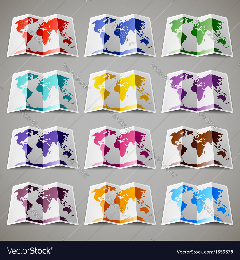 Set of twelve colored maps of the world vector | Price: 1 Credit (USD $1)