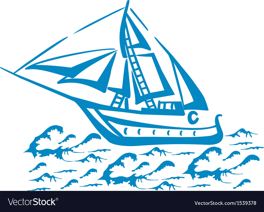 Silhouette of a sailboat on the waves vector | Price: 1 Credit (USD $1)