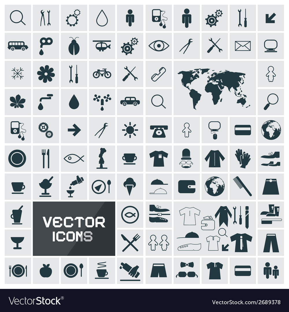 Square flat icons set vector | Price: 1 Credit (USD $1)